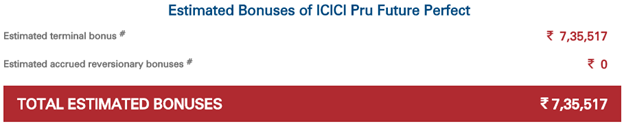 estimated bonuses of icici pru future perfect