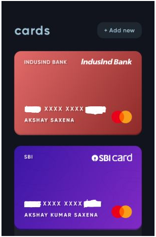 adding your credit cards in cred app