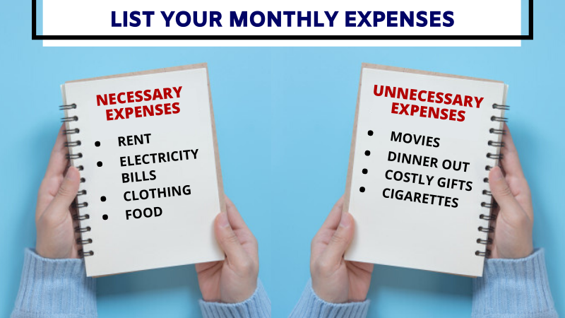 List your monthly expenses