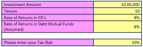 fd and debt fund calculator