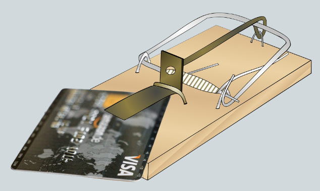 Mouse trap credit card